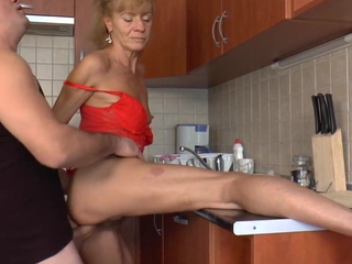 Beautiful granny well fucked in kitchen