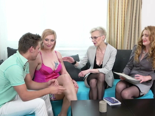 Full-grown moms projection young cocks