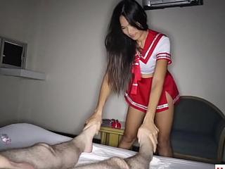 Amateur Thai teen masseur Pay fucking an obstacle brush client in a sexchair