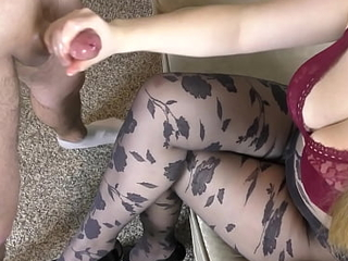 Teen Chubby Special give Black Pantyhose - Handjob, cum toes