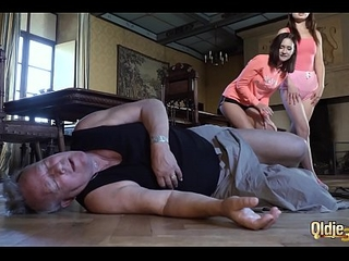Grandpa fucks two young girls in their sexy holes coupled with watch them wipe the floor with cum