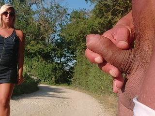 I pull out my dick in public to pee, this woman helps me