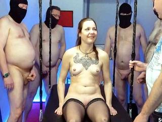 GERMAN PUSSY BUKKAKE GANGBANG WITH SKINNY TEEN XENIA BITCH