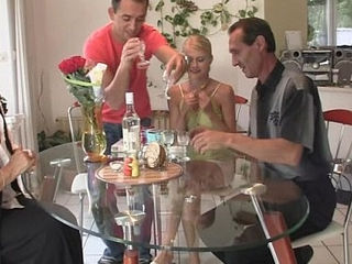 Pussy toying and cock riding helter-skelter her BF's parents