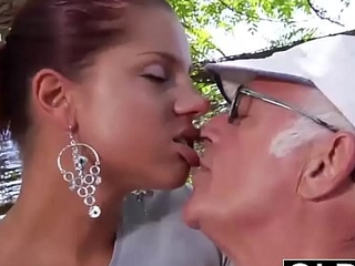 Juvenile Go steady with caught fucked by age-old man she sucks his dick plus swallows cum