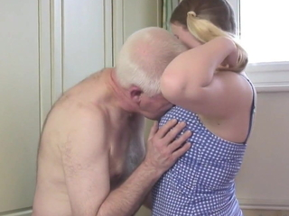 Oldman fucks young blonde nigh the assembly room
