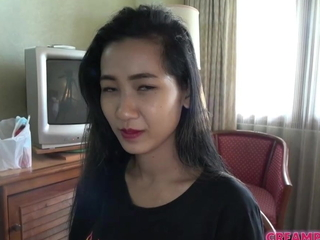 Japanese man creampies Thai girl relative to uncensored coition photograph