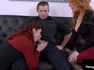 Dissimulation Sisters Penny Pax & Violet Monroe Fuck Hard Cock Boss!