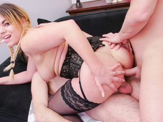 AmateurEuro - Hot French Teen Takes Her First 3way DP Ever