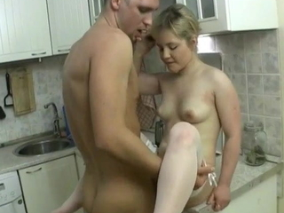 Petite pretty Russian fucking and sucking just about the kitchen