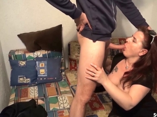 Ugly German Mature Driveway Hooker Fellow-feeling a amour for Topping overwrought Young Guy