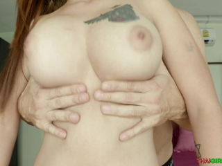 Charming Thai babe with big boobs sucks a hard blarney