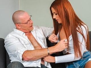 DADDY4K. Teen sweet ginger sucks grey Hawkshaw to get money