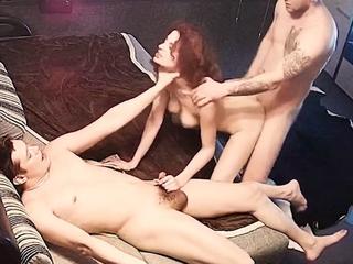 Redhead Horny Teen in Hard Orgy Threesome FFM on Hidden Cam