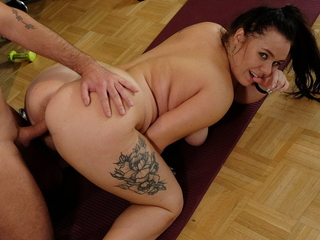 Chubby chick needs a dick limber up badly