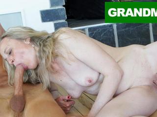 Sleazy granny fucks virgin cleaning schoolboy