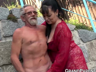 Busty grandma blows chubby old cock and gets cum sprayed in foursome