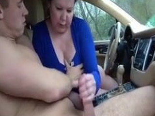 Mom and son, blowjob in slay rub elbows with car