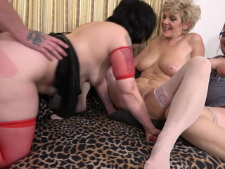 Crazy sex party with three busty mothers together with twosome boy