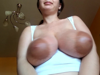 Tits play close by cum on tits