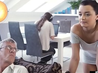 Old Scrounger Taboo Copulates His Scions Girlfriend In Same Room
