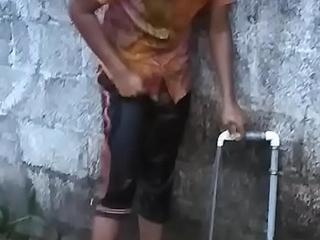 Hot Kerala mallu lawful age teenager babe with fat cash ablution sneak peeking