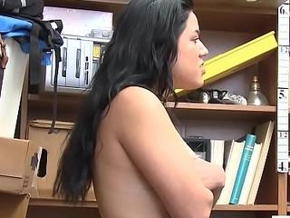 Bad thief with big tits sucks a LP officers big cock