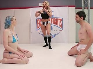 Mixed minimal wrestling Lux Lives strapon bonks her loser opponent