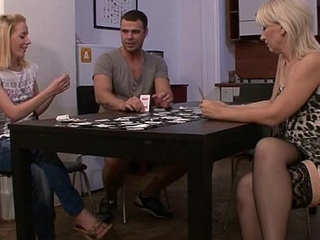 Strip poker leads on touching bawdy cleft toying